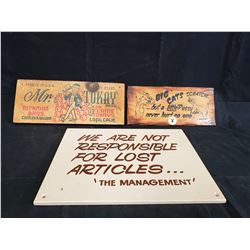 3 ASSORTED SIGNS NO RESERVE
