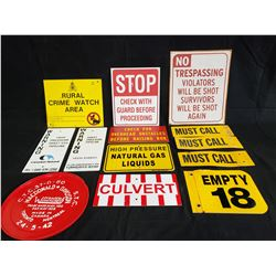 13 ASSORTED WARNING SIGNS NO RESERVE