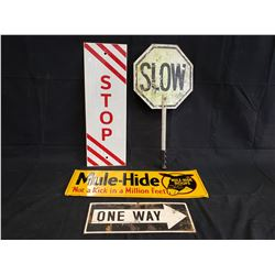 STOP, SLOW, ONE WAY AND MULE HIDE SIGNS NO RESERVE