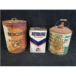 AUTOLENE MOTOR OIL CAN, CITIES GAS CAN AND KEROSUN KEROSENE CAN NO RESERVE