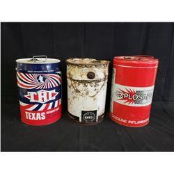 SET OF 3 5 GALLON CANS TRC, SHELL AND EXPLOSAFE NO RESERVE