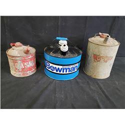 2 ANTIQUE GAS CANS 1 BOWMAN CAN NO RESERVE