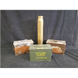 3 AMMUNITION BOXES AND 1 50 CALIBER SHELL CASING NO RESERVE