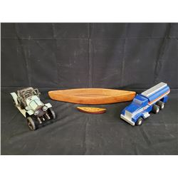 HANDCRAFTED BOAT AND TRUCK AND ANTIQUE METAL MODEL CAR NO RESERVE
