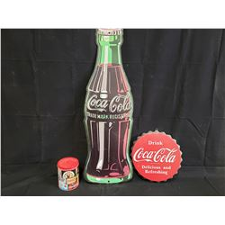 COKE SIGN, TIN AND BOTTLE CAP SIGN NO RESERVE