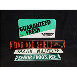 4 STREET SIGNS NO RESERVE