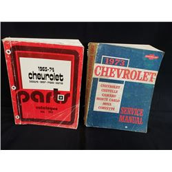 CHEVROLET PARTS CATALOGUE 1965 TO 1975 WITH 1973 CHEVROLET SERVICE MANUAL NO RESERVE