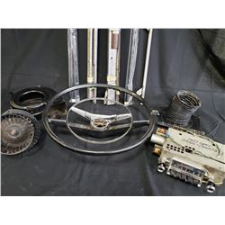 ASSORTED 57 NOMAD PARTS INCLUDING STEERING WHEEL, RADIO ETC. NO RESERVE