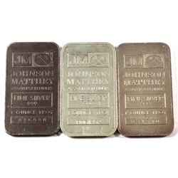 Lot of Vintage Johnson Matthey 1oz Fine Silver Bars with Logo Reverse (Tax Exempt) 3pcs.