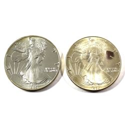 1986 & 1989 USA $1 1oz Fine Silver Eagles (Tax Exempt) 1986 is the first issued year! 2pcs.