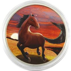 2014 GB 2-Pound Coloured Year of the Horse 1oz Fine Silver Coin (Tax Exempt) Coin comes in a protect