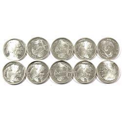 10x 1/10 oz Fine Silver Indian/Buffalo Rounds (Tax Exempt) 10pcs.