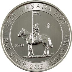 1920-2020 Canada $10 RCMP 2oz Fine Silver Coin (Tax Exempt)