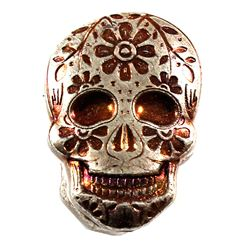 Monarch 2oz Fine Silver Copper Coloured Hand Poured Sugar Skull with Daisy (Tax Exempt)