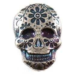 Monarch 2oz Fine Silver Blue & Violet Coloured Hand Poured Sugar Skull (Tax Exempt)