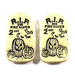 Pair of Limited Mintage Monarch Issued R.I.P Glow-in-the-dark 2oz Jack-O-Lantern Tombstone Fine Silv