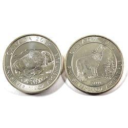2015 Canada $2 Grey Wolf 3/4oz & 2015 Canada $8 Buffalo 1.25oz Fine Silver Coins (Tax Exempt) 2pcs.