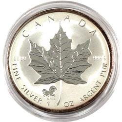 2002 Canada $5 Horse Privy 1oz Fine Silver Maple (Tax Exempt) Toning around Rim.  Coin comes encapsu