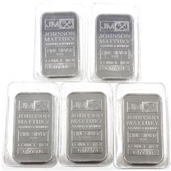 Lot of Johnson Matthey 1oz Fine Silver Bars 'C Series' (Tax Exempt) Bars are still in original seale