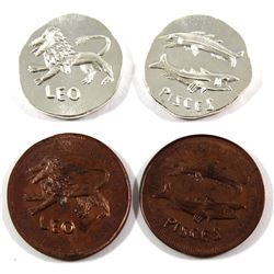 Beaver Bullion 1/4oz Leo & Pisces Fine Silver Coins with Matching Copper Rounds (Tax Exempt)  Copper