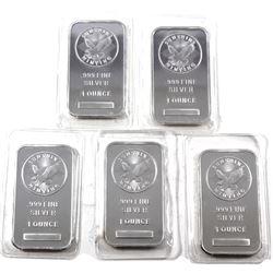 5x Sunshine 1oz Fine Silver Bars in original Sealed pouches (Tax Exempt) 5pcs.