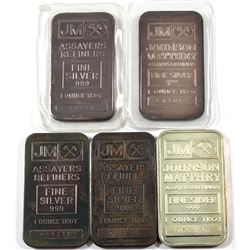 Lot of Vintage Johnson Matthey 1oz Fine Silver Bars (Tax Exempt) You will receive 3x Blank Reverse,