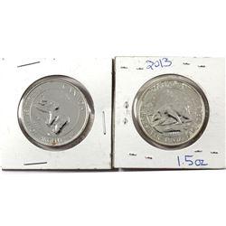 Pair of 2013 Canada $8 Polar Bear 1 1/2oz Fine Silver Coins (Tax Exempt) Toned. 2pcs.
