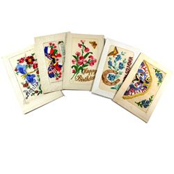 WWI Era  Silk Embroidered Greetings Postcard Collection.  You will receive 5 Different butterfly des