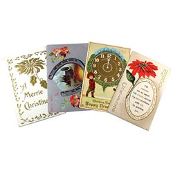 1910-1920 Christmas & New Years Greetings Postcard Collection. Postcards contain personal greetings,