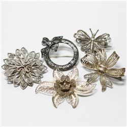 Vintage/Antique Silver Filigree  Brooch Collection.  In this lot you will receive 5 Brooches. Contai
