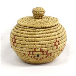 Vintage Yupik Native Woven Grass Basket by Larsen