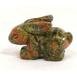 Carved Unikite Stone Rabbit