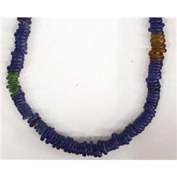 Antique Dutch Donut Cobalt Blue Bead Necklace