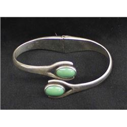 Taxco VSA Sterling Turquoise Hinged Bracelet
