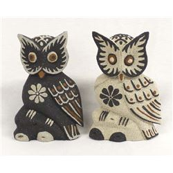Pair of Indonesian Carved Albezia Wood Owls