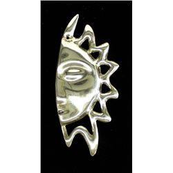 Vintage Taxco Sterling Silver Sun Brooch