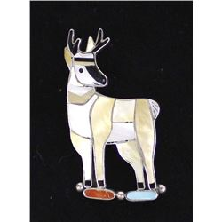 Zuni Sterling Inlay Antelope Pin Pendant, Leekity