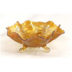 Fenton Stag & Holly Marigold Carnival Glass Bowl