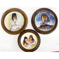 3 Framed De Grazia Collector Plates