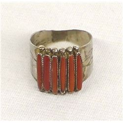 Native American Zuni Sterling Coral Ring, by Quam