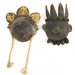 2 Vintage Mexican Coconut Masks