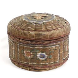 Antique Chinese Hand Painted Lidded Sewing Basket