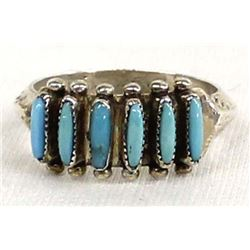 Zuni Sterling Needlepoint Turquoise Ring, Size 8
