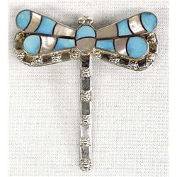 Zuni Sterling Turquoise Dragonfly Pin Pendant