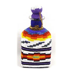Hand Beaded Glass Decanter by Kathy Kills Thunder