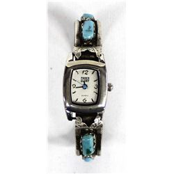 Zuni Old Pawn Sterling Turquoise Watch Bracelet