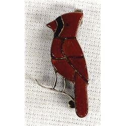 Vintage Zuni Sterling Coral Cardinal Pin Pendant