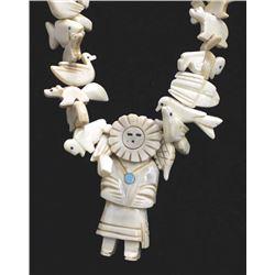 Navajo Carved Buffalo Bone Fetish Necklace
