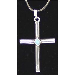 Navajo Sterling Turquoise Cross Pendant Necklace