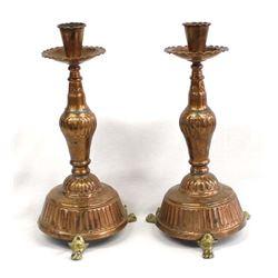 United Arab Republic Copper Candlestick Holders